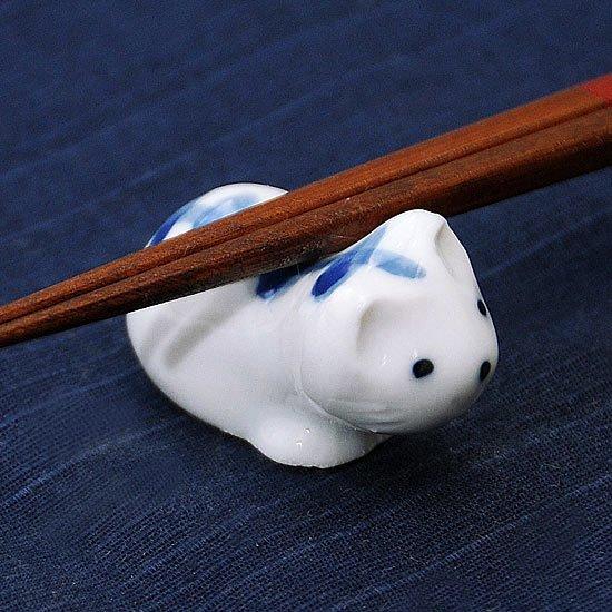 豆猫トラ柄(青)の箸置き