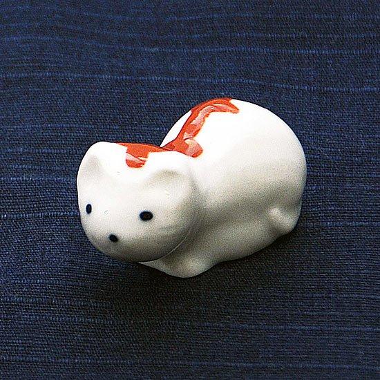 豆猫トラ柄(赤)の箸置き