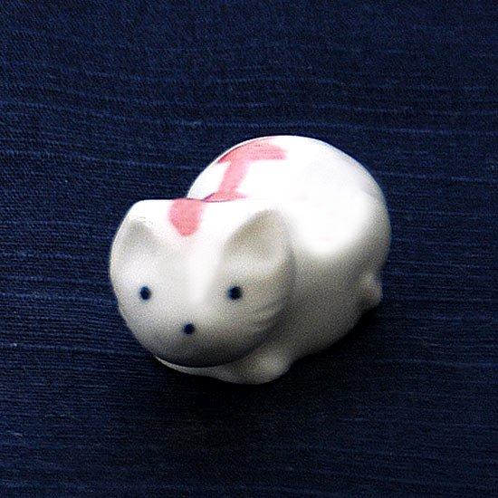豆猫トラ柄(ピンク)の箸置き