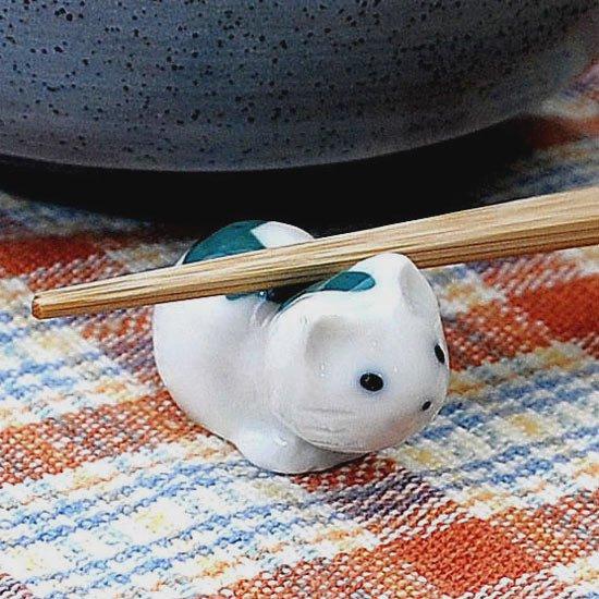 豆猫トラ柄(緑)の箸置き
