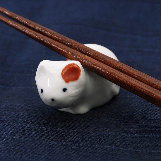 豆猫水玉柄(赤)の箸置き