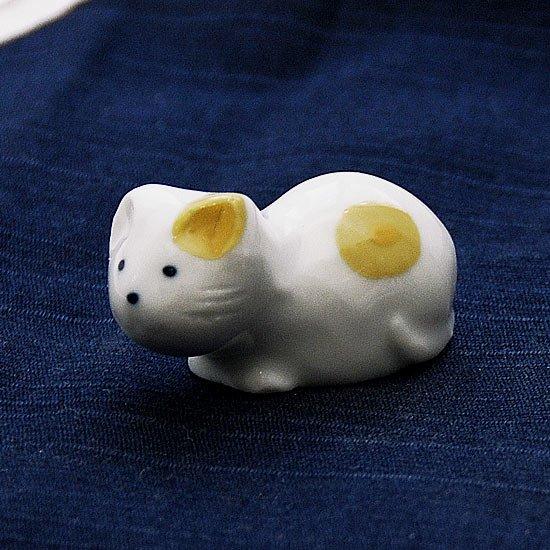 豆猫水玉柄(黄)の箸置き