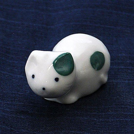 豆猫水玉柄(緑)の箸置き