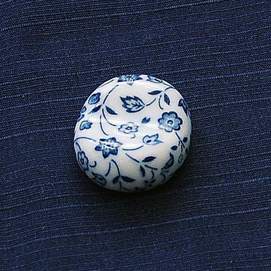 小豆 呉須柄 藍色花の箸置き