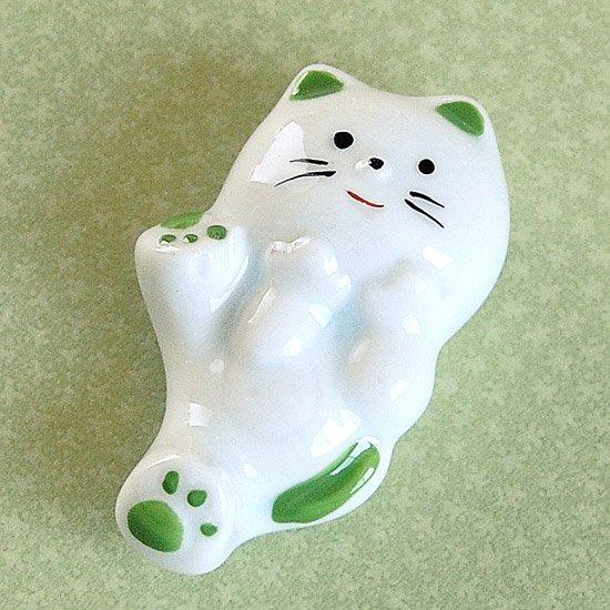 上絵ネコ(緑)の箸置き