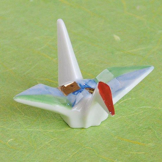 折り鶴(緑金)の箸置き