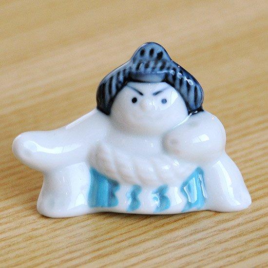 相撲(土俵入り・青)の箸置き