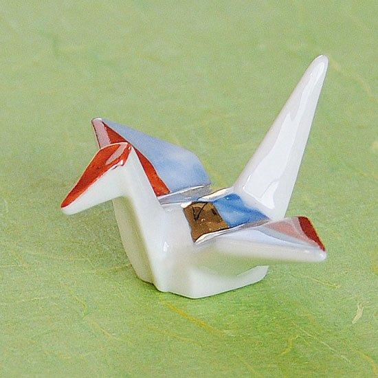 折り鶴(赤金)の箸置き
