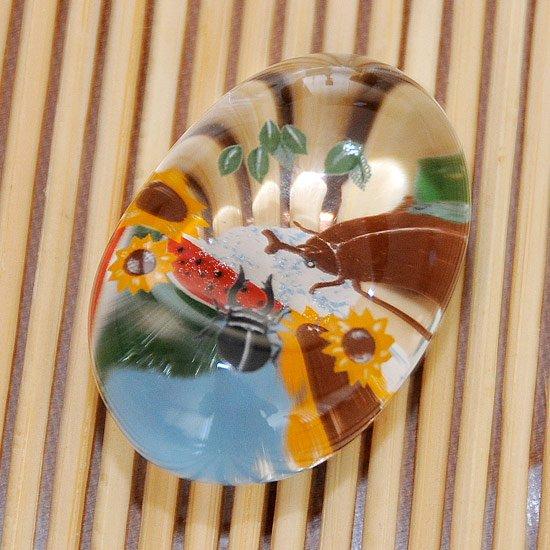 ガラスの箸置き カブトムシ