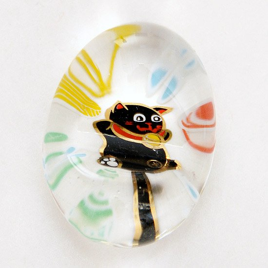ガラスの箸置き 招き猫(黒)