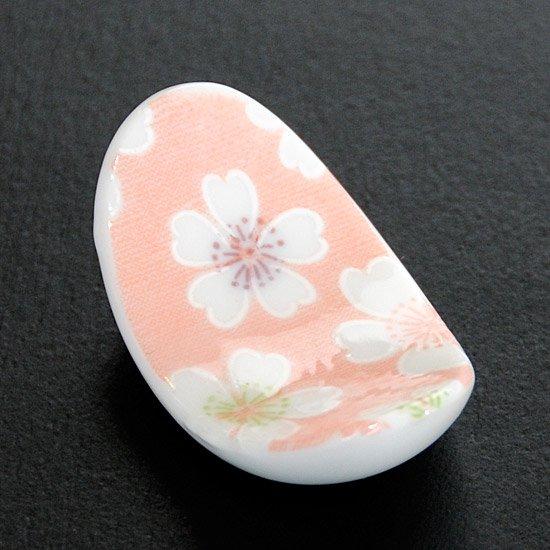 楕円反りお花見(ピンク)の 箸置き