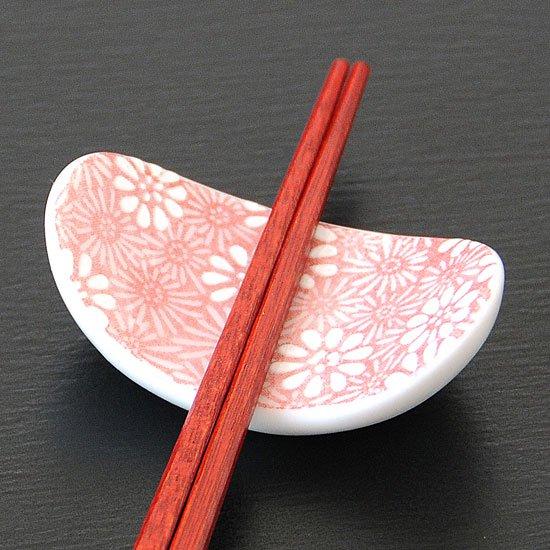 楕円反り菊(赤)の 箸置き