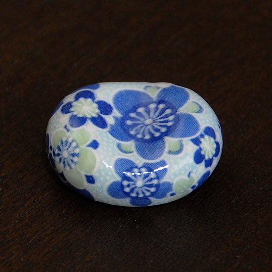 小豆 色呉須柄 梅の花(青)