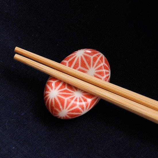 ミニ小豆 色呉須柄 麻の葉(赤)