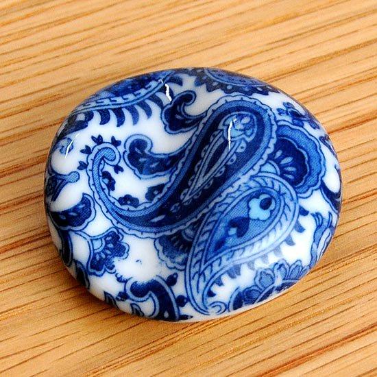 丸凹み ペイズリー柄(ブルー)