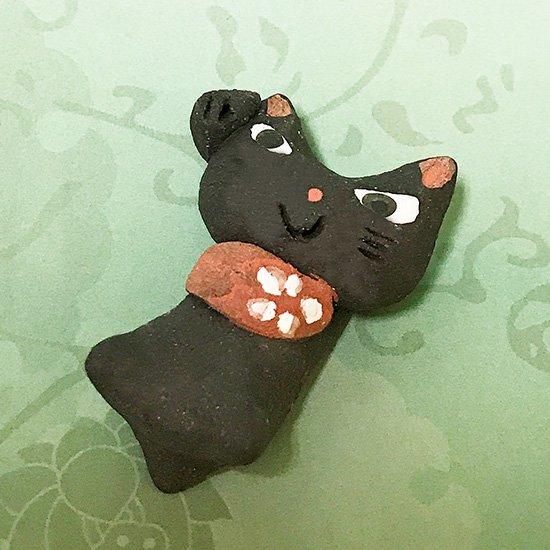 手造り招き猫(黒)の箸置き