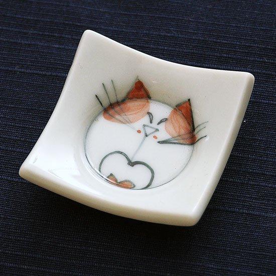 四方皿ネコ(赤)の箸置き