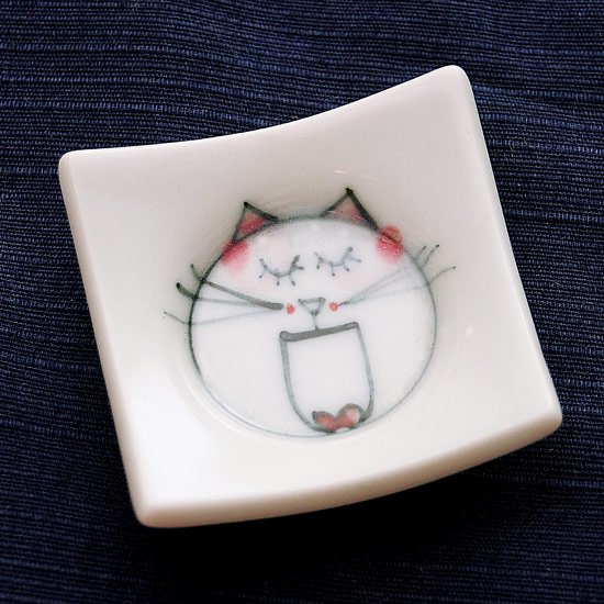 四方皿ネコ(ピンク)の箸置き