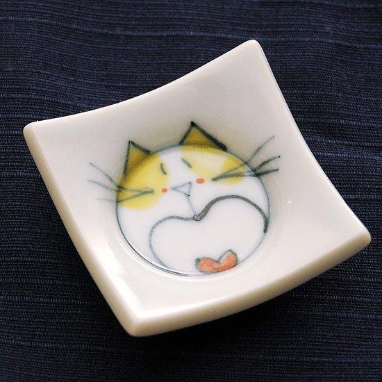 四方皿ネコ(黄色)の箸置き