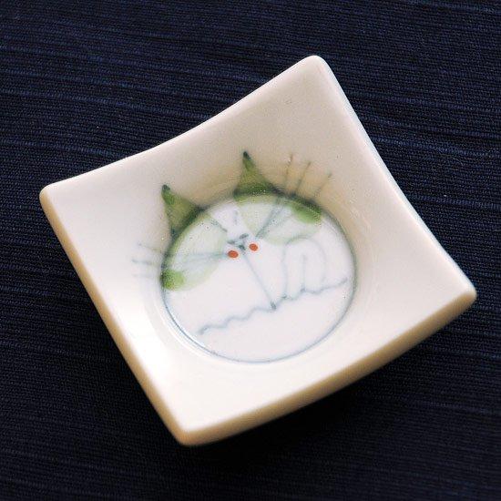 四方皿ネコ(緑)の箸置き