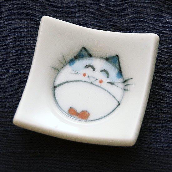 四方皿ネコ(青)の箸置き
