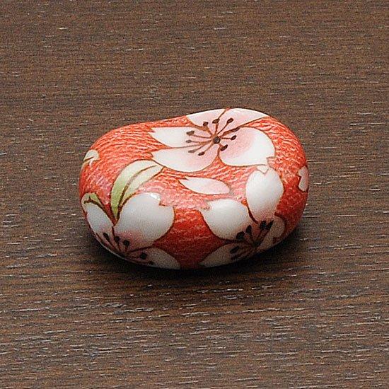 小豆 色呉須柄 赤地桜
