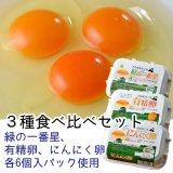 (常温)3種食べ比べセット(緑の一番星、有精卵、にんにく卵)[田子たまご村]