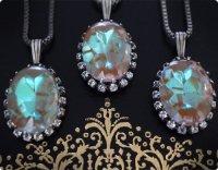 【サフィリーン&クリアガラス】魔法の国の宝石 オーバルXL/ネックレス 在庫3→0