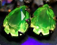 【古硝子 大粒ウランガラス】燐光の国の宝石 ドロップXL/ピアス