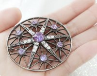 【パープルサフィリーン7粒】魔法の国のお星さま/ブローチ