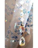 【★受注制作★透明サフィリーン】魔法の国の宝石&スワロフスキー オーバルXL/サンキャッチャー