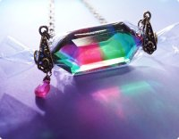 【ヴィンテージガラス&ルビー★7月誕生石】虹の宝石キャンディ/ネックレス