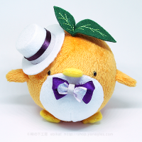 おめかしエコペンオレンジ(白帽子紫リボン)
