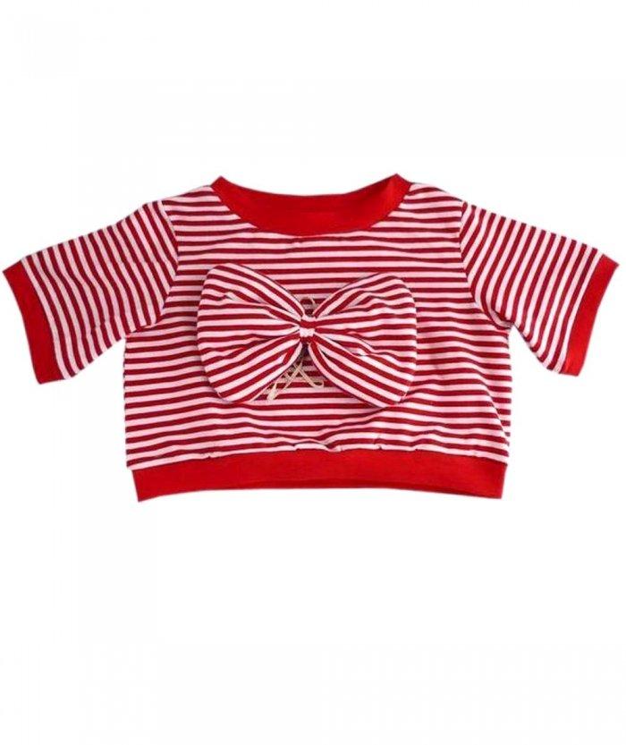 【単品コーデ】 シェリーメイ 服 コスチューム ボーダートレーナー&リボン 2点セット 赤 70cm