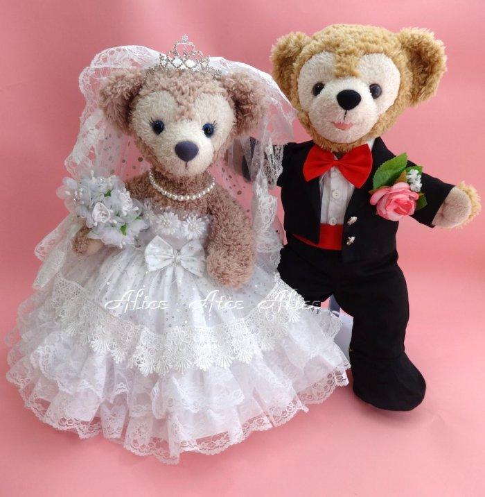 ダッフィー 結婚式 ウエディング 豪華純白ウエディングドレス&黒燕尾服セット No.25 【一部地域を除き送料無…