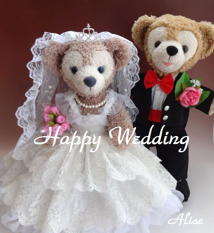 ダッフィー 結婚式 ウエディング 豪華純白ウエディングドレス&黒燕尾服セット No.30 【一部地域を除き送料無…