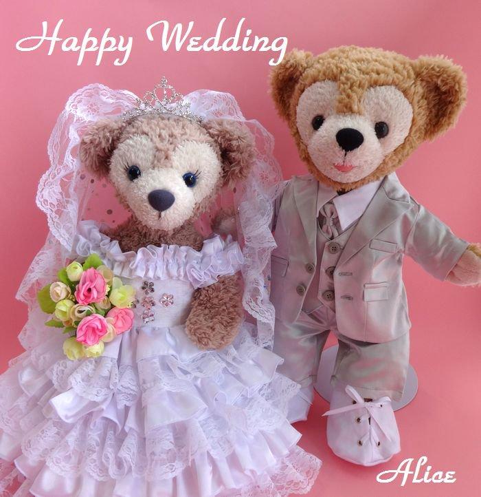 ダッフィー 結婚式 ウエディング 豪華フリル 純白ウェディングドレス&シルバータキシードセット No.43 【一部地域を除き送料無…