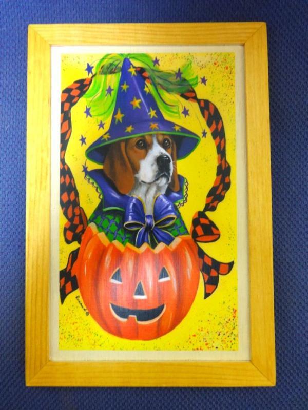 【デコパージュ メール便OK】 壁掛け 犬  ビーグル ハロウィン