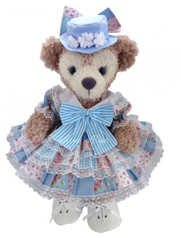 シェリーメイ 服 コスチューム 帽子&パニエ付 3段ドレス パッチワーク柄水色