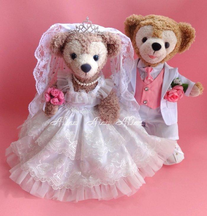 ダッフィー 結婚式 ウエディング 豪華薔薇レース ウエディングドレス&純白タキシードセット No.55 【一部地域を除き送料無料】