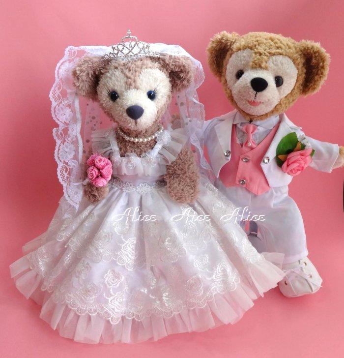 ダッフィー 結婚式 ウエディング 豪華薔薇レース ウエディングドレス&純白燕尾服セット No.57【一部地域を除き送料無…