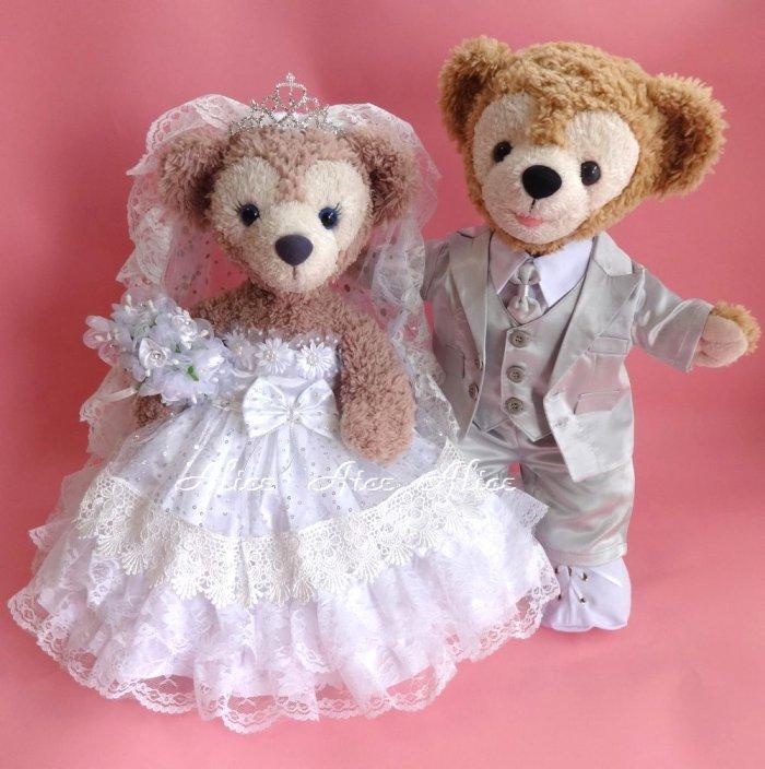 ダッフィー 結婚式 ウエディング 豪華純白ウエディングドレス&シルバータキシードセット No.61 【一部地域を除き送料無料】