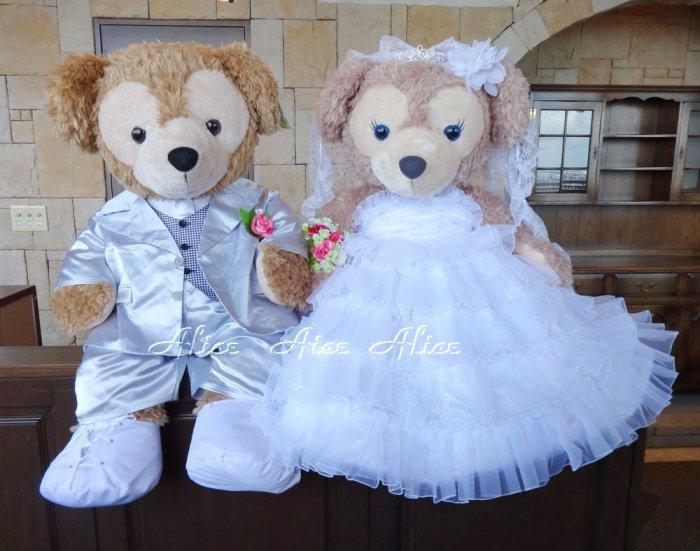 ダッフィー 結婚式 ウエディング 豪華純白ウエディングドレス&シルバータキシードセット  【100cm/一部地域を除き送料無…