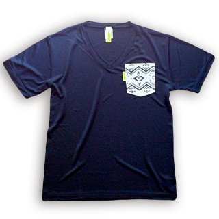 "DRY V-NECK POCKET TEE ""ORTEGA"" NAVY"
