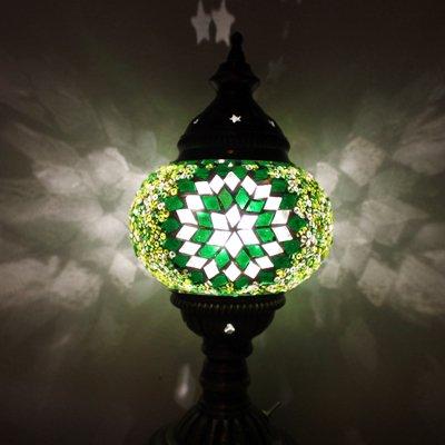 トルコのスタンドランプS (直立) 電池式LED グリーン&シルバーフラワー