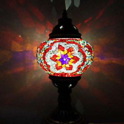 トルコのスタンドランプS (直立) 電池式LED オレンジ&ブルーフラワー