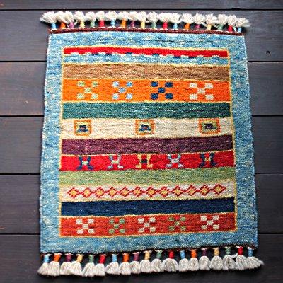 トルコ絨毯 NEW 座布団サイズ ターコイズブルー&カラフル