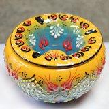 トルコ☆キュタフヤ陶器の蓋付き灰皿(大) イエロー&ターコイズブルー