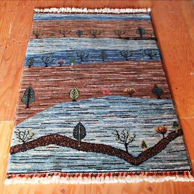 トルコ絨毯 NEW 116x84 ラグ マット ブルー・ブラウン 木々