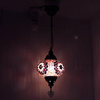 トルコのハンギングランプ(シーリング) M レッド&ピンクフラワー